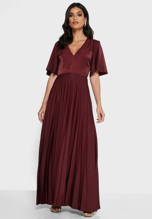 Flute Sleeve Pleated Dress