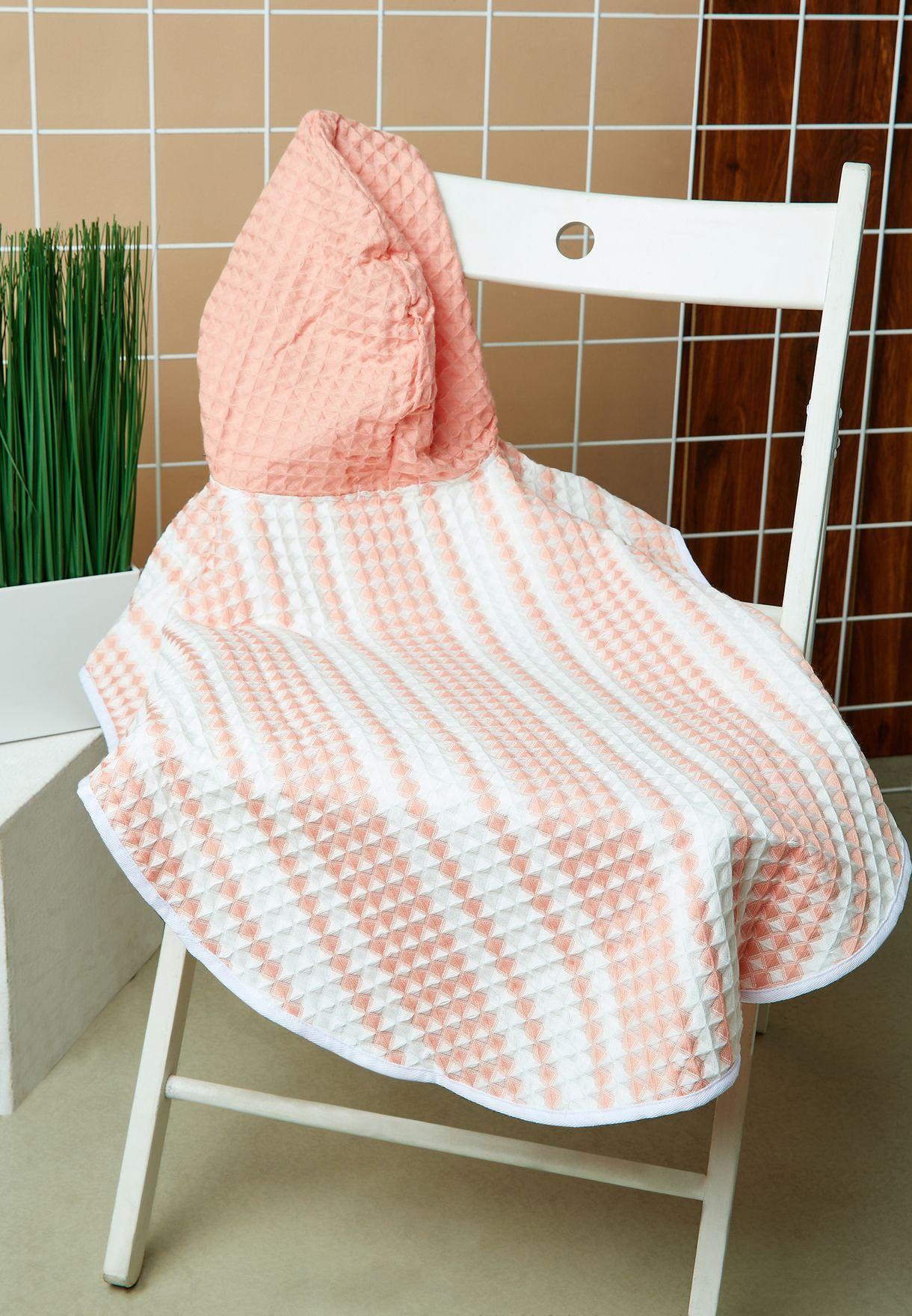Kids Crush Stripe Waffle Hooded Towel