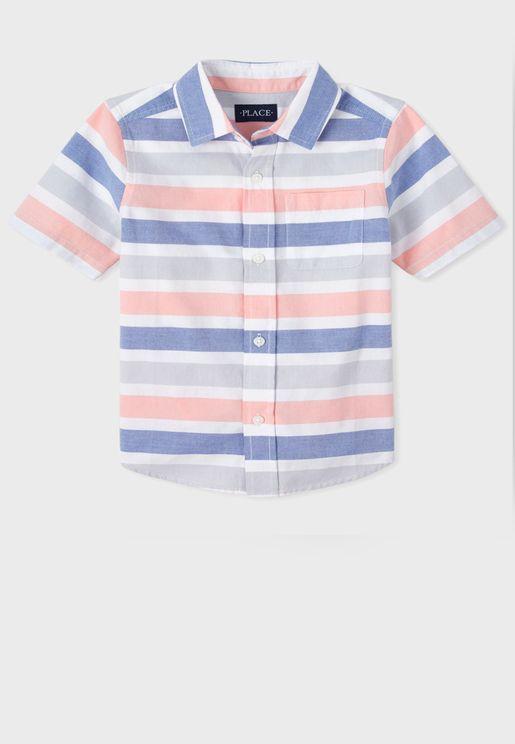 قميص مخطط باكمام قصيرة