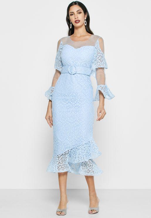 Belted Ruffle Midi Dress
