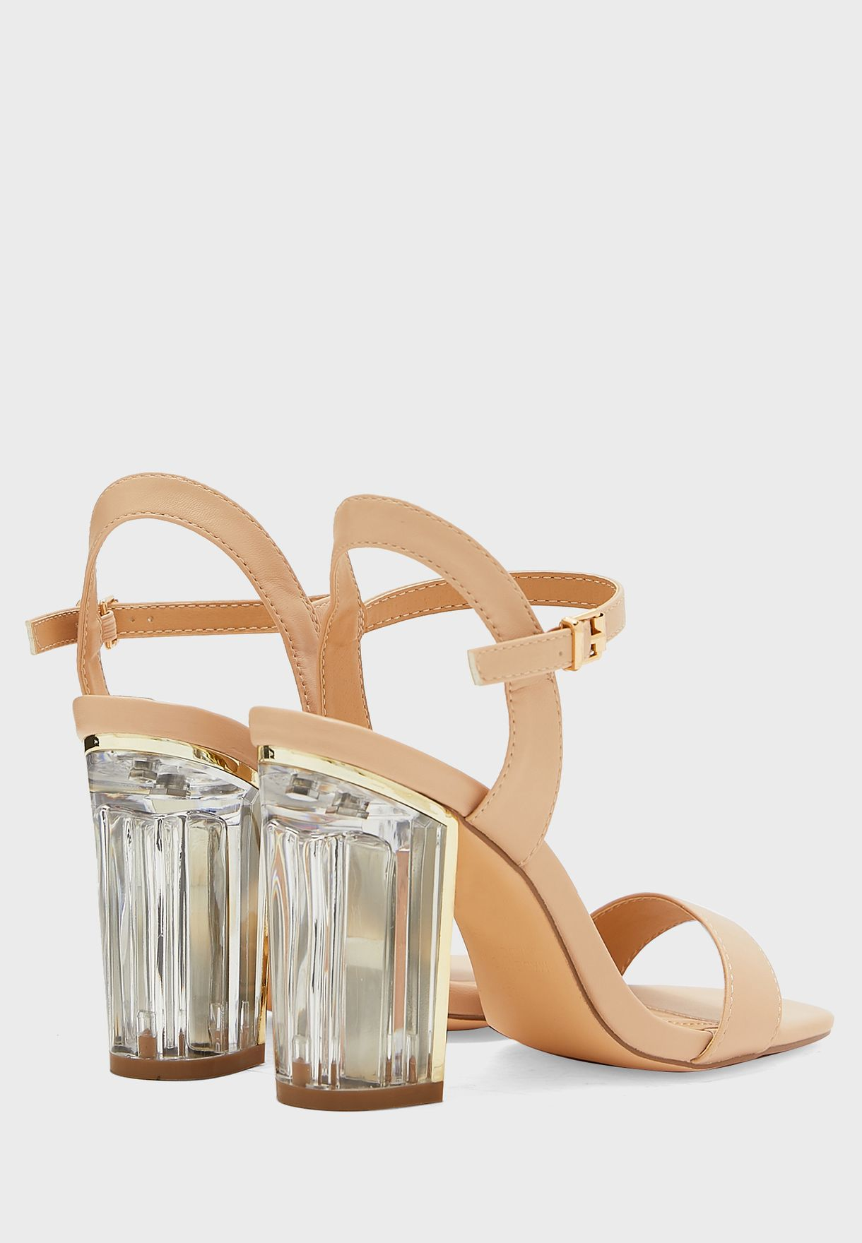 Patent Ankle Strap Sandal With Persplex Heel