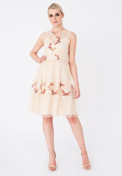 Mesh Detail Printed Skater Dress