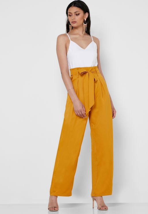 Tie Waist Colorblock Jumpsuit