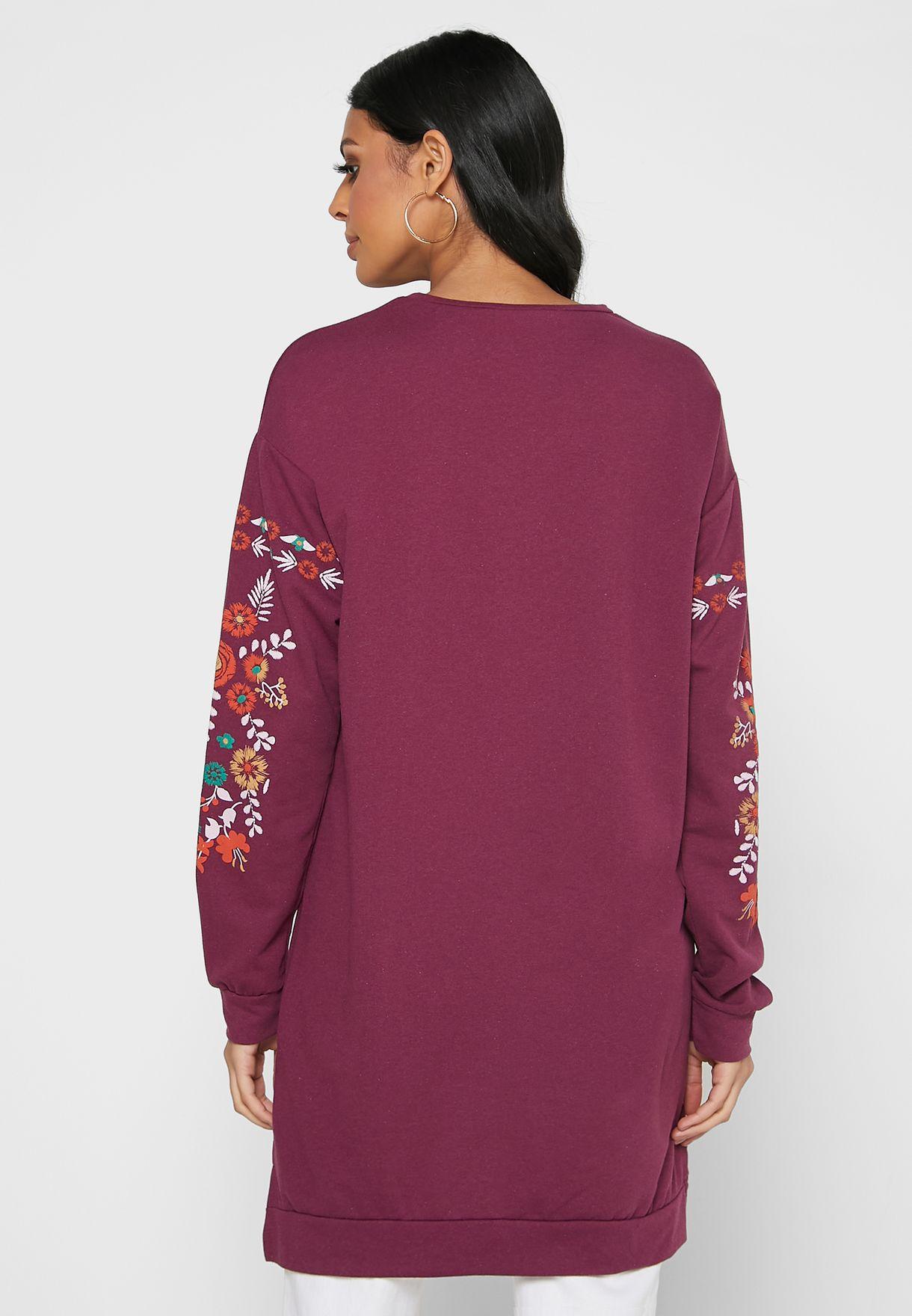 Floral Print Knitted Sweatshirt