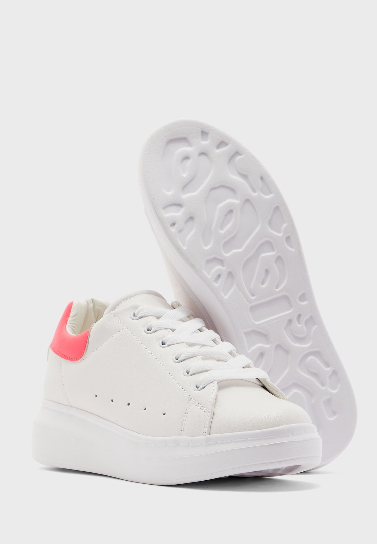White With Neon Pink Detail Classic Sneaker