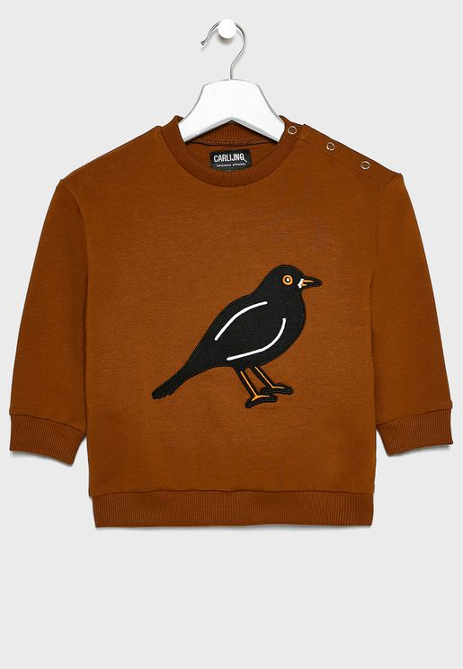 Kids Black Bird Sweatshirt