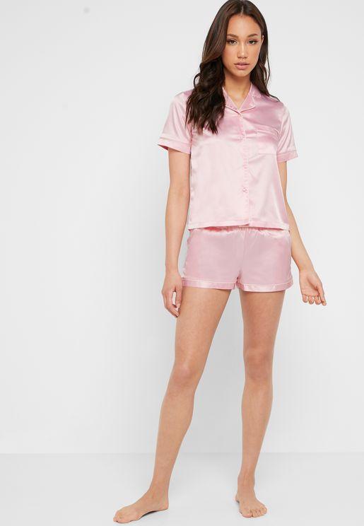 Satin Shirt & Shorts Pyjama Set