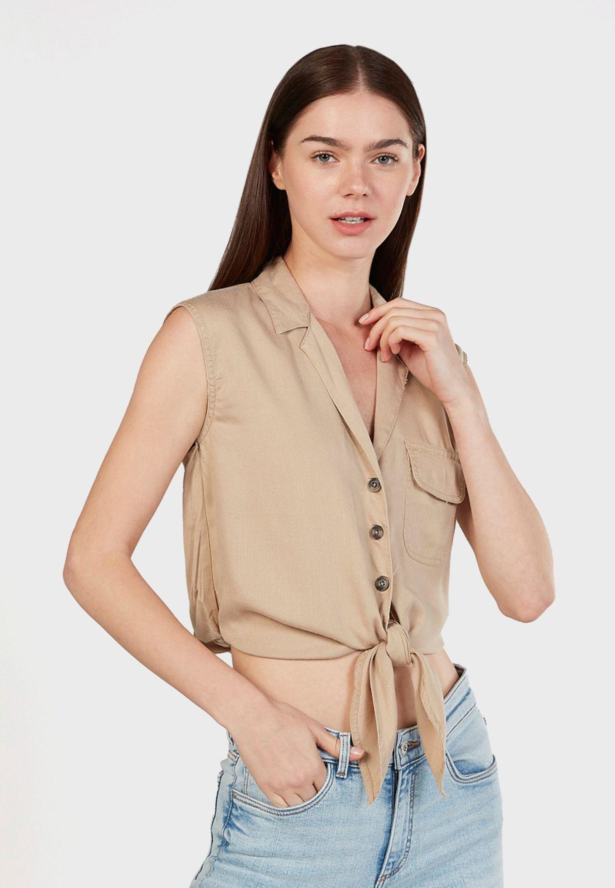 Knot Detail Crop Shirt