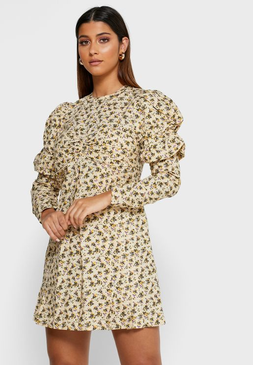 Puff Sleeve Printed Dress