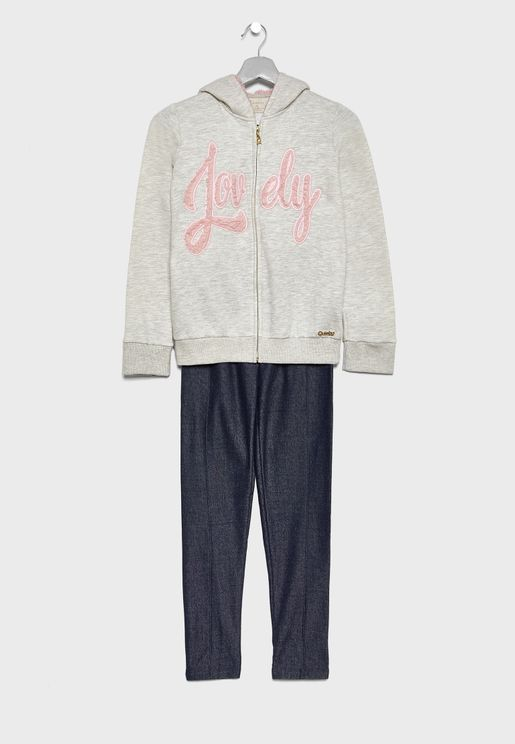 Kids Embroided Hoodie + Denim Jeans Set