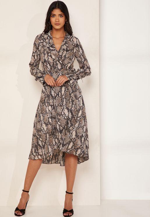 Snake Print Wrap Maxi Shirt Dress