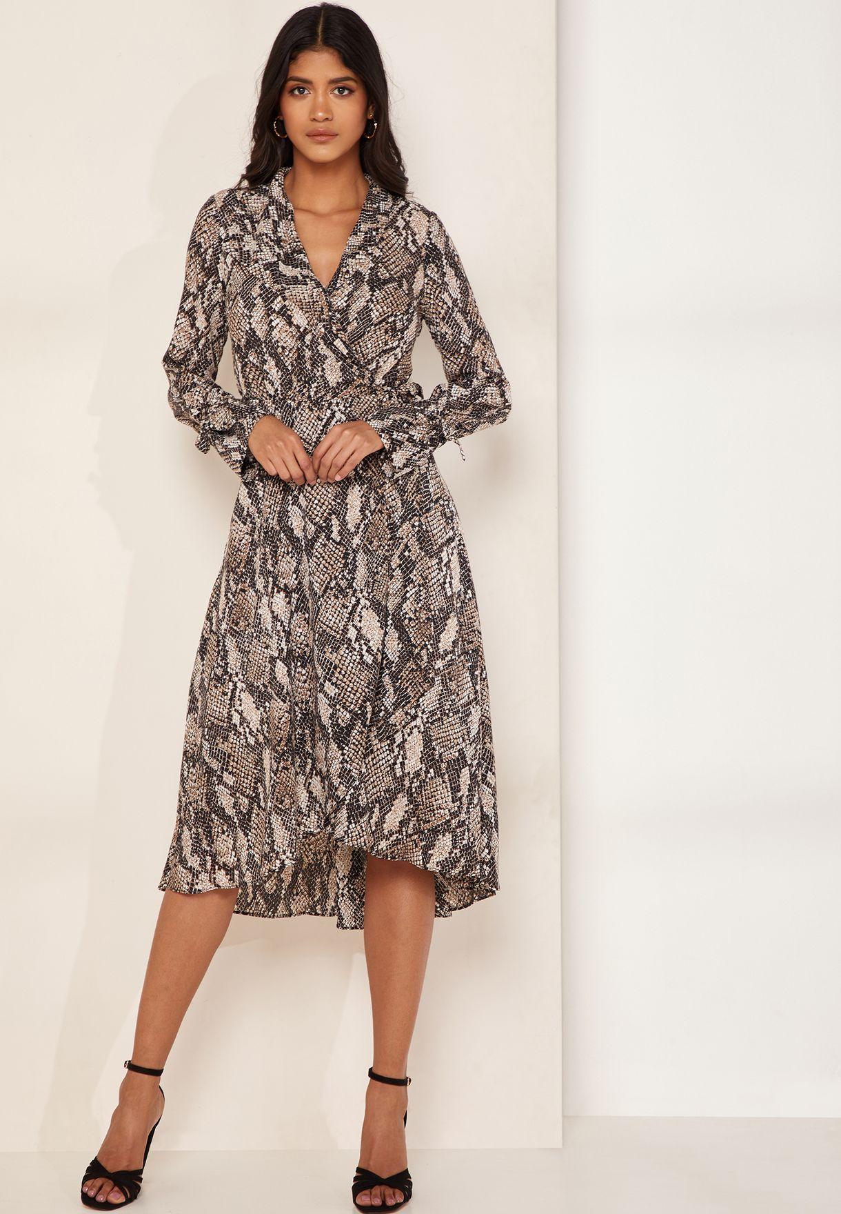 24fdb6e08d7 Shop Karen Millen animalprint Snake Print Wrap Midi Shirt Dress ...