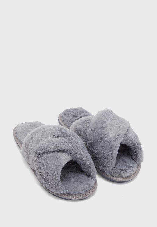 Furry Cross Over House Slippers