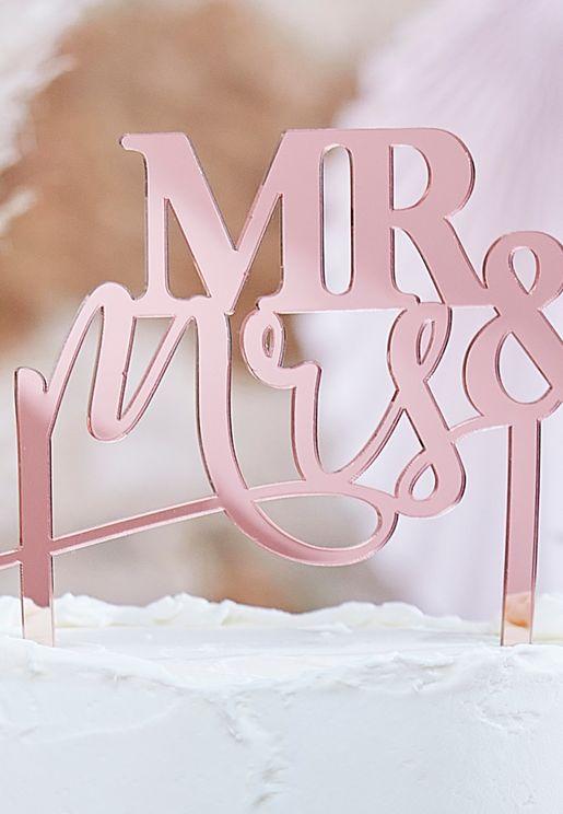 """ديكور للكيك """"Mr & Mrs"""""""