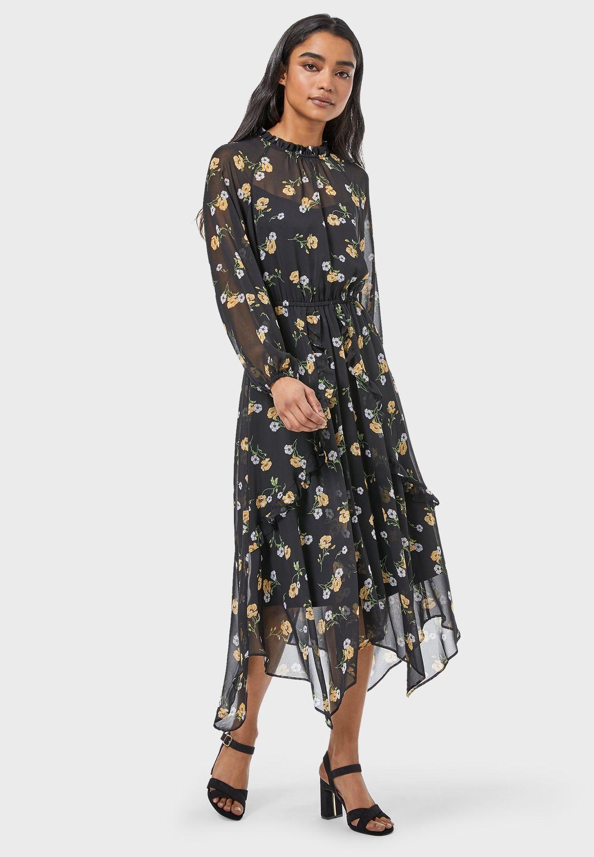 High Neck Printed Asymmetric Dress