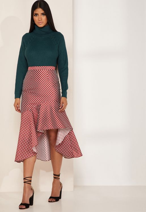Love Light Polka Dot Asymmetric Frill Skirt