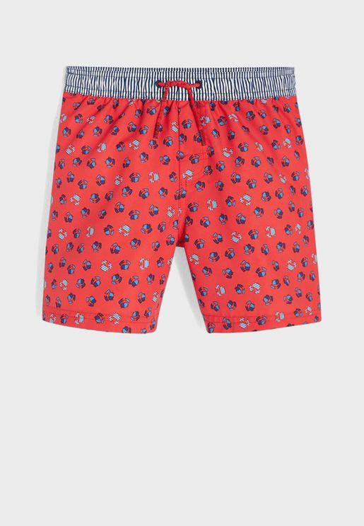 Youth Crab Print Swim Shorts