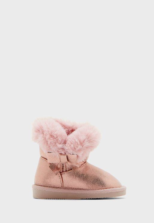Kids Fur Detail Boots