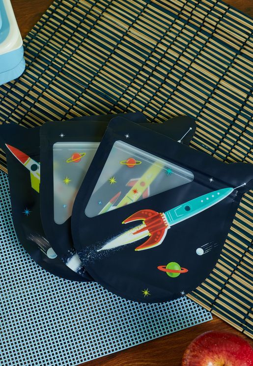 Set Of 3 Space Age Snack Bags