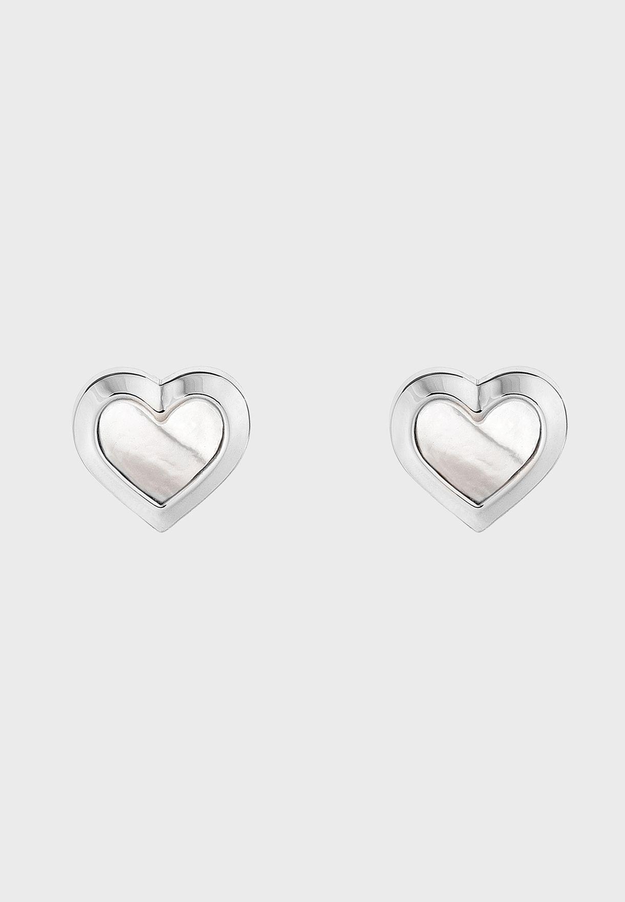 Heila Mother Of Pearl Heart Stud Earrings