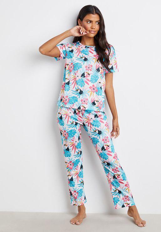 Pelican Tropical Print T-Shirt And Pyjama Set