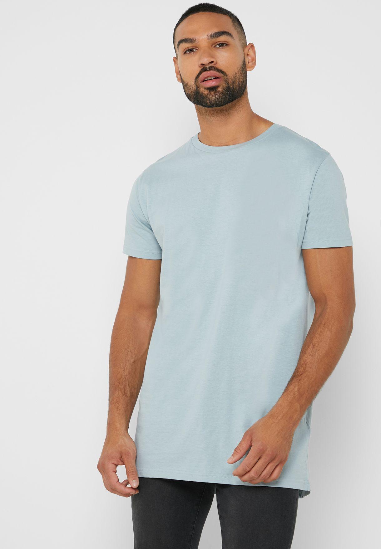 f8a9d934 Shop Brave Soul blue Longline T Shirt MTS-36HARRELG for Men in UAE ...