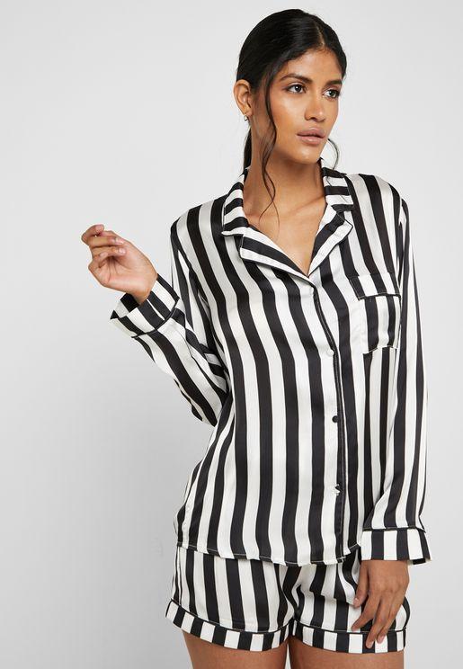 Satin Striped Pyjama Set