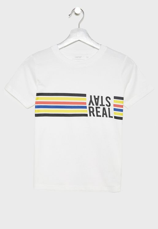 Teen Stripe Detail Organic Cotton T-Shirt