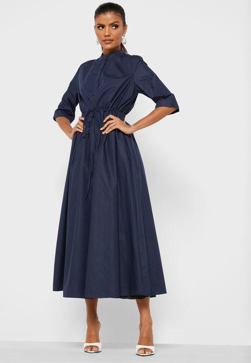 فستان مجعد بأربطة خصر