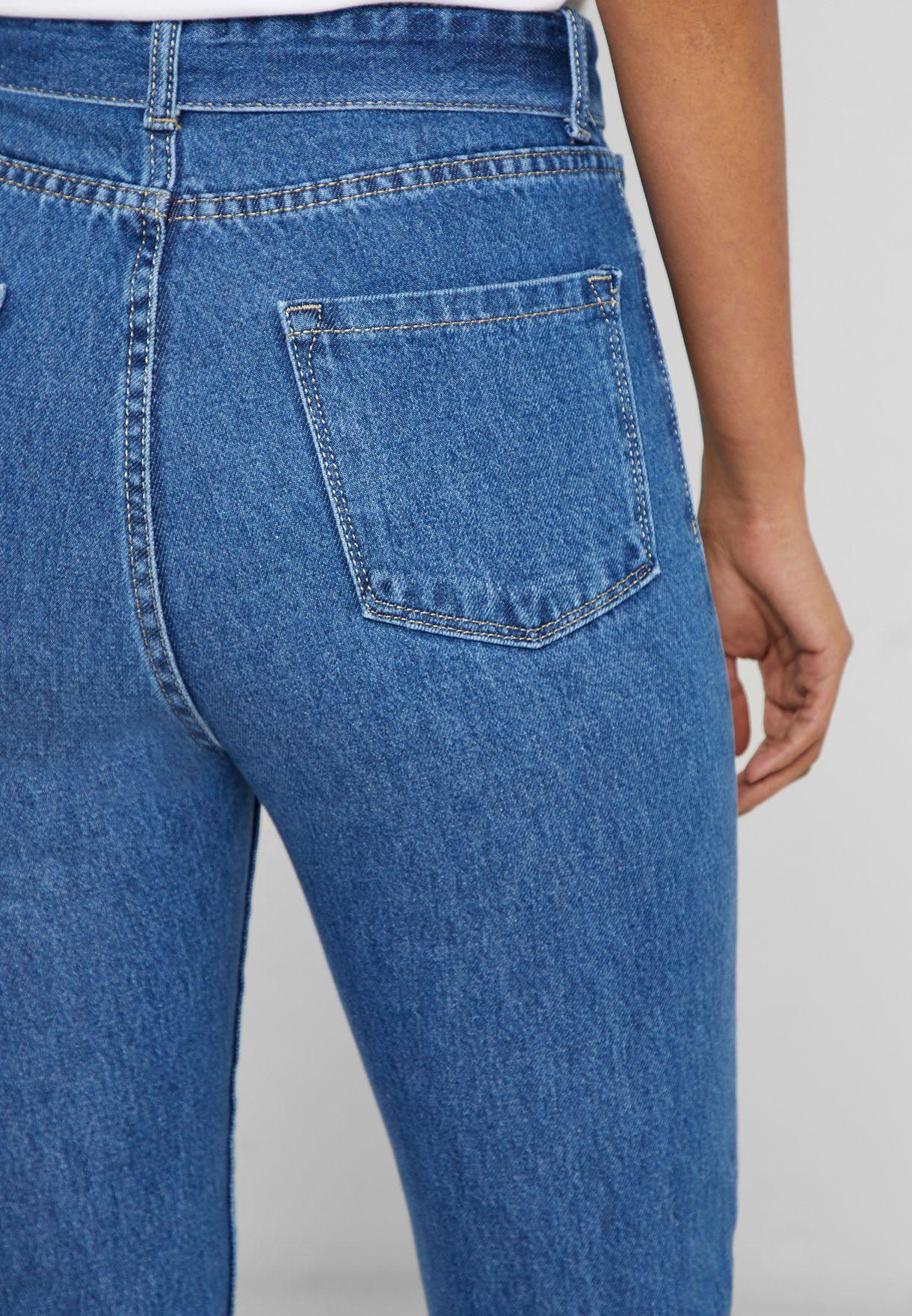 High Waisted Belted Mom Jeans