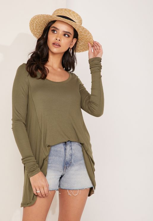 Scoop Neck Longline Long Sleeve T-Shirt