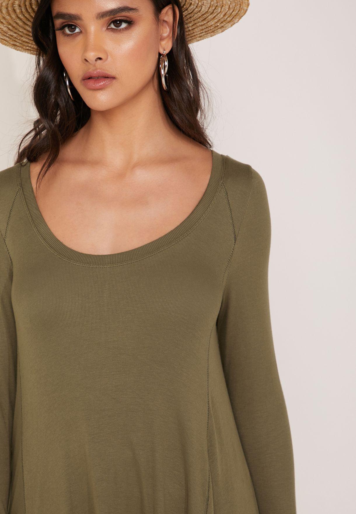 Scoop Neck Longline Long Sleeve T-Shirt