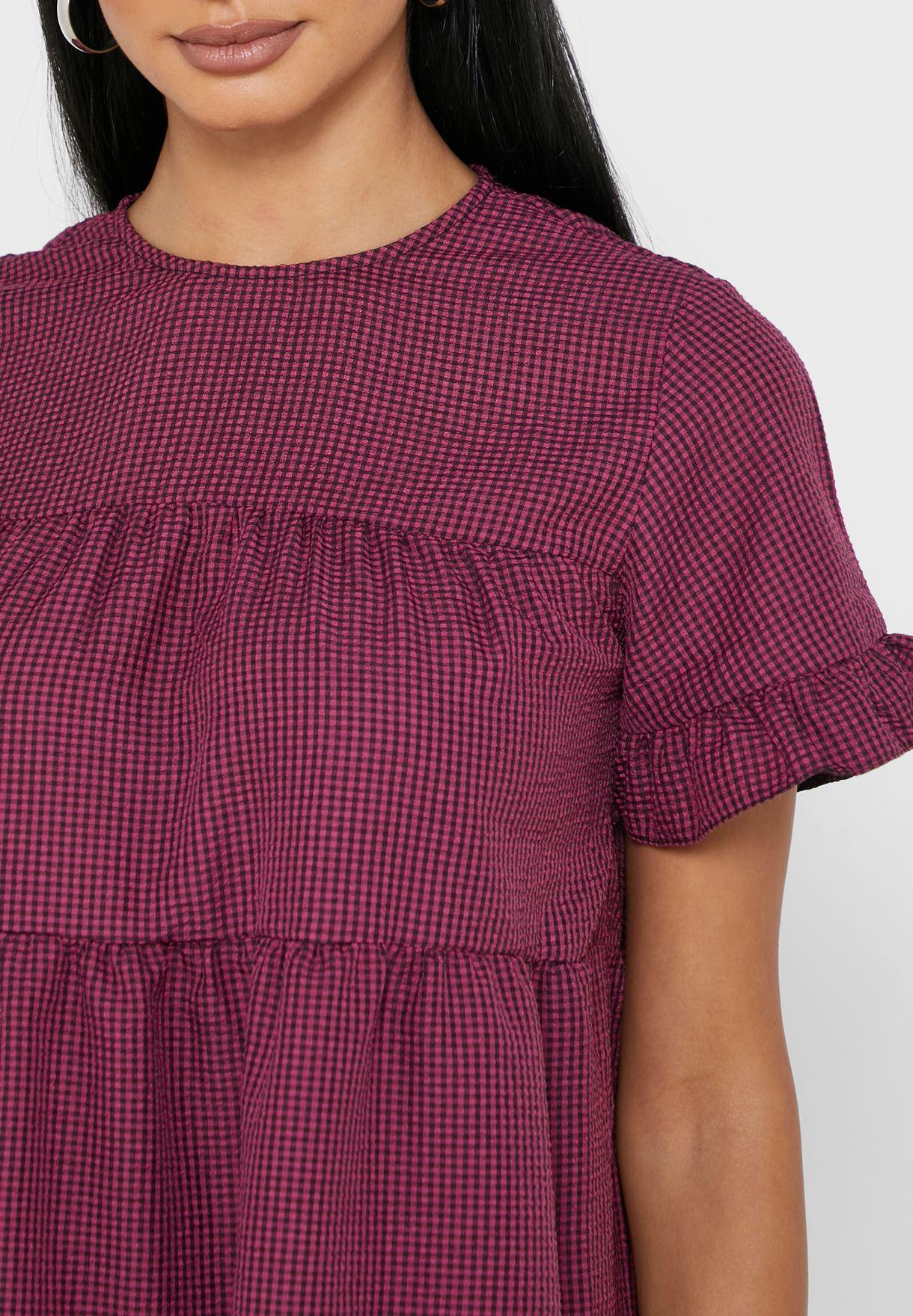 فستان بطباعة مربعات