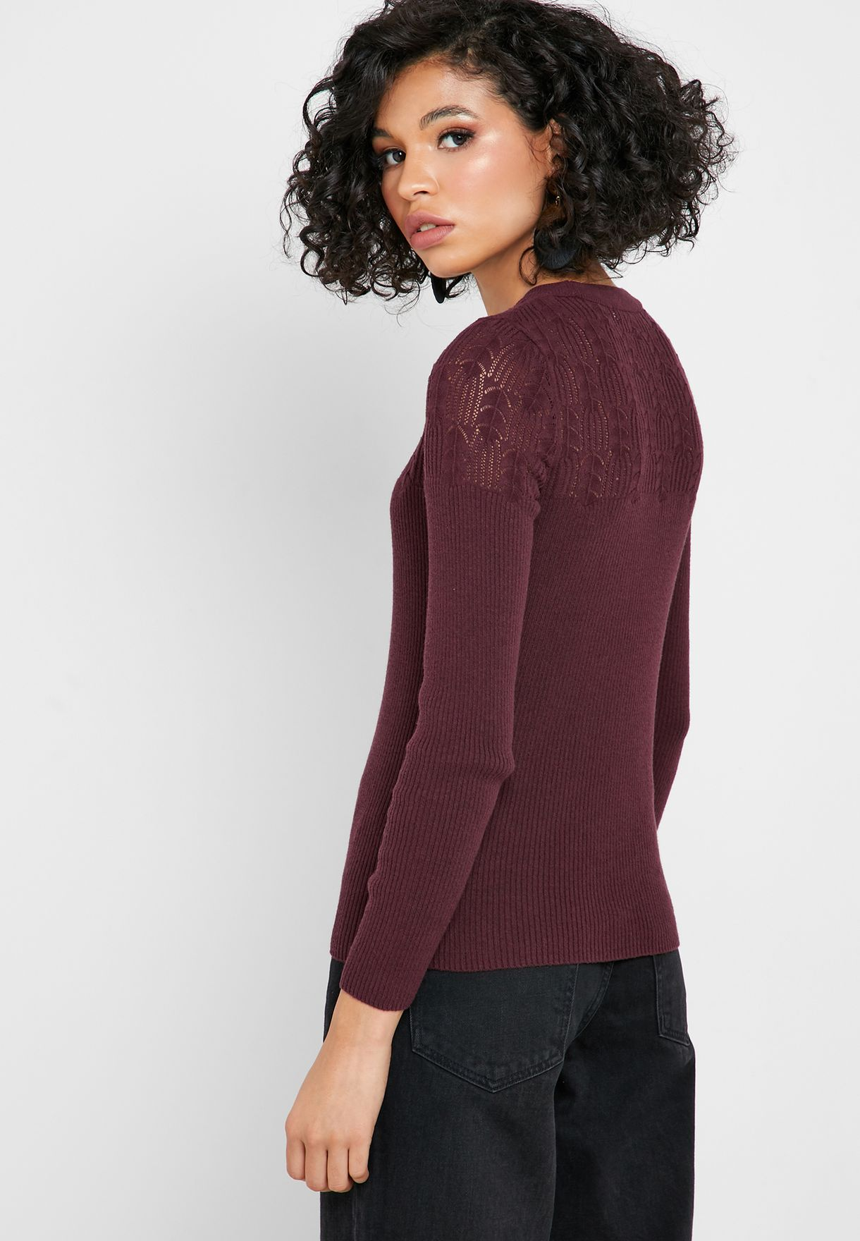 Openwork Ribbed Sweater
