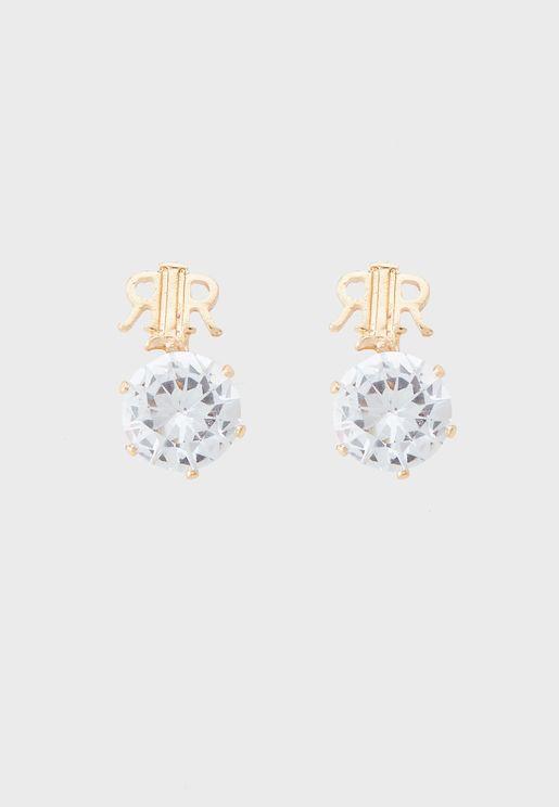 Branded Drop Crown Stud Earring