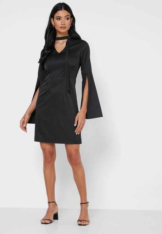 Choker Flare Sleeve Mini Dress