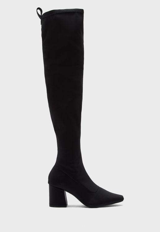 Casual Low Heel Knee Boots