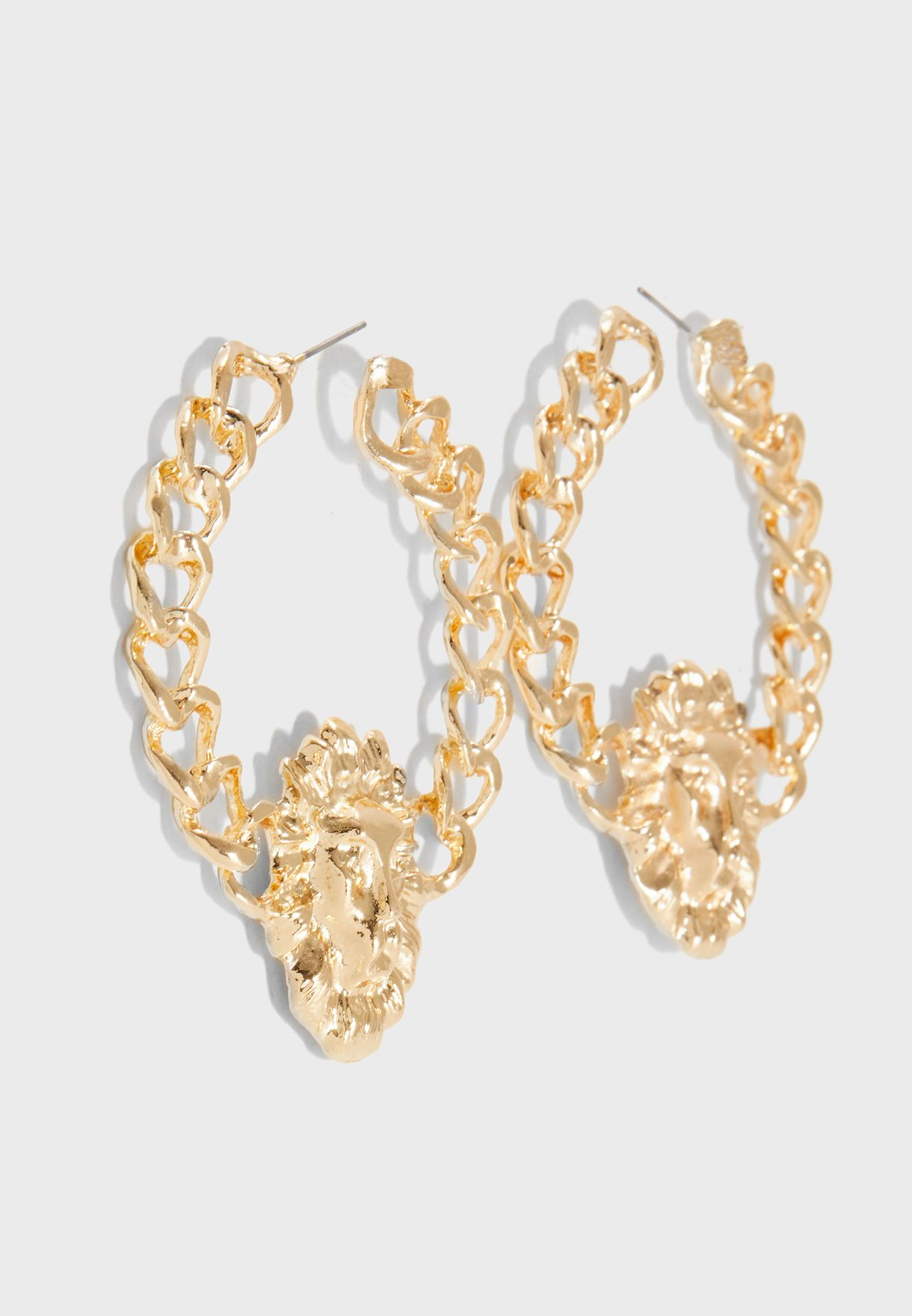 Lion Chain Detailed Bijouterie Earrings