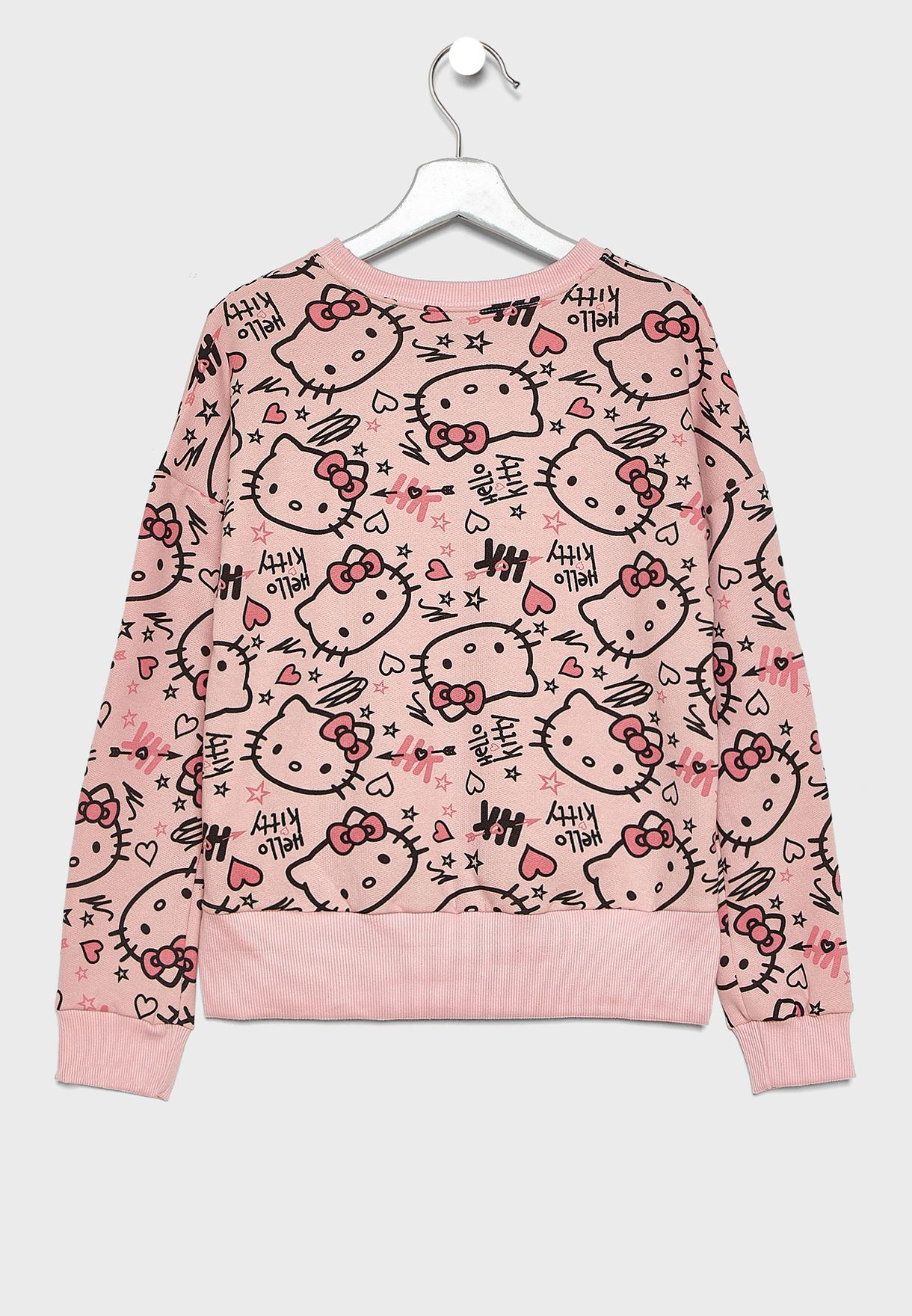 Kids Kitty Printed Sweatshirt + Sweatpants Set