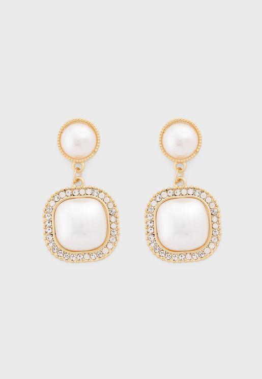 Iridescent Stone Stud Drop Earrings
