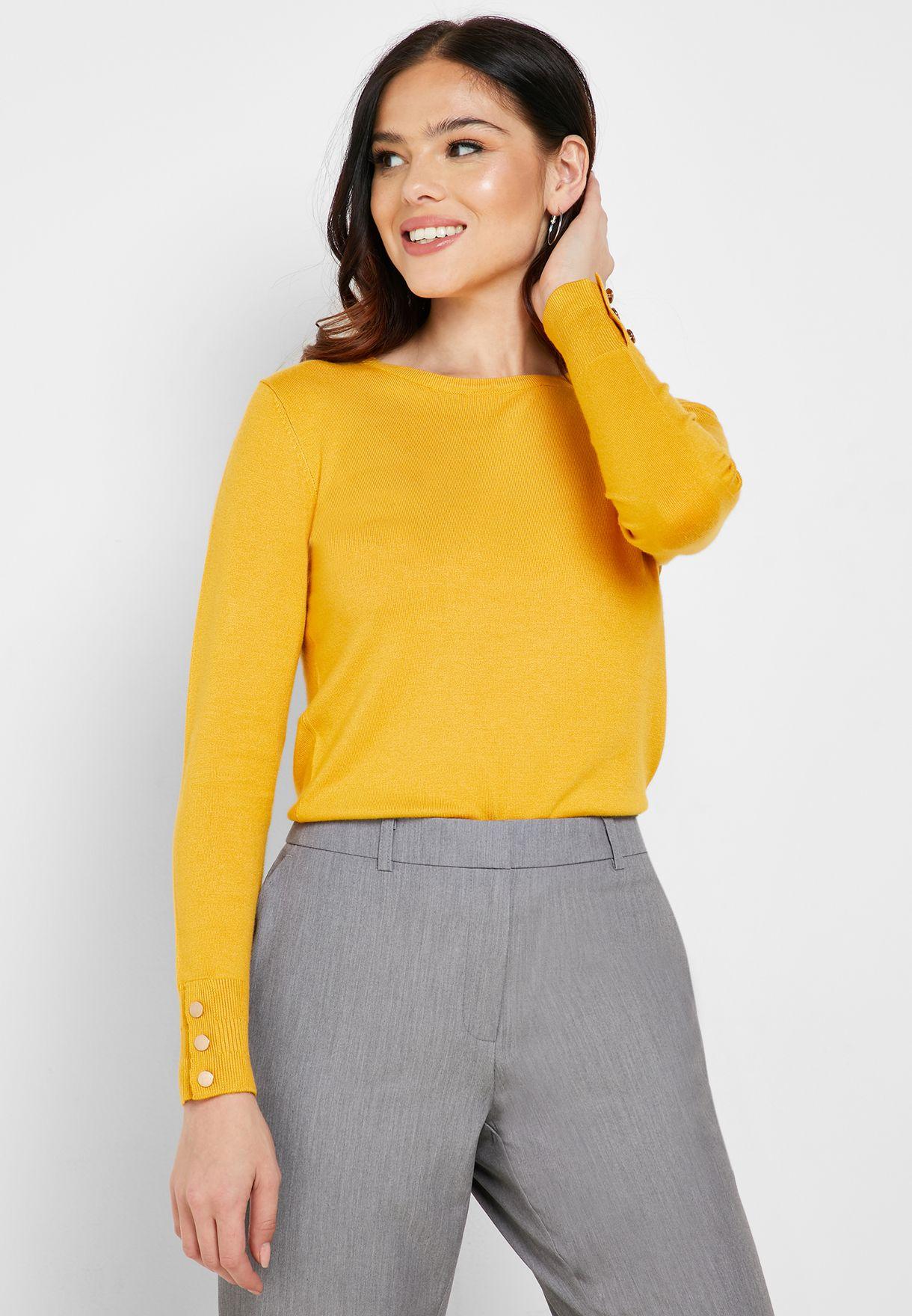 Button Cuffed Sweater