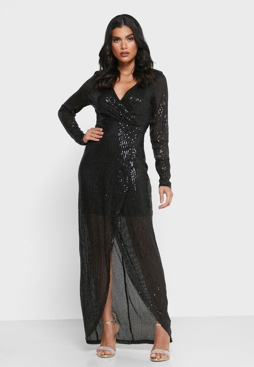 Surplice Sequin Dress