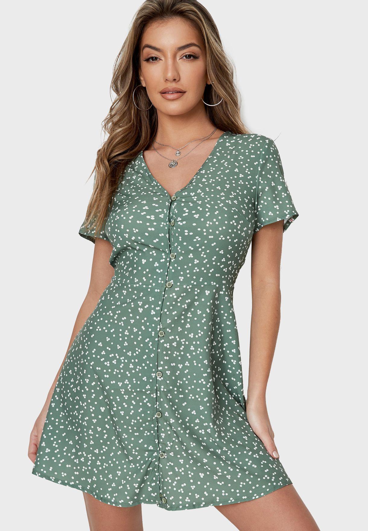 فستان قصير بطبعات