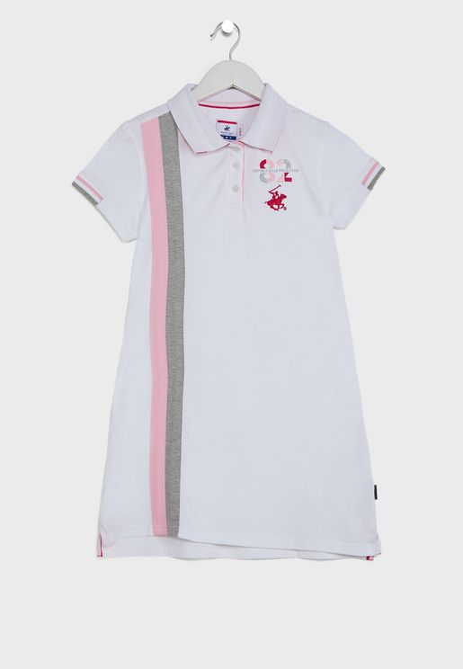Kids Vertical Stripe Polo Dress