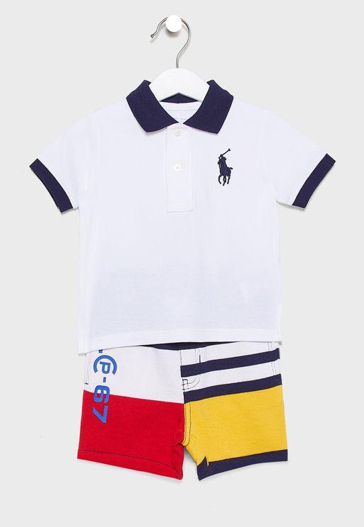 Infant Monogram Polo + Shorts Set
