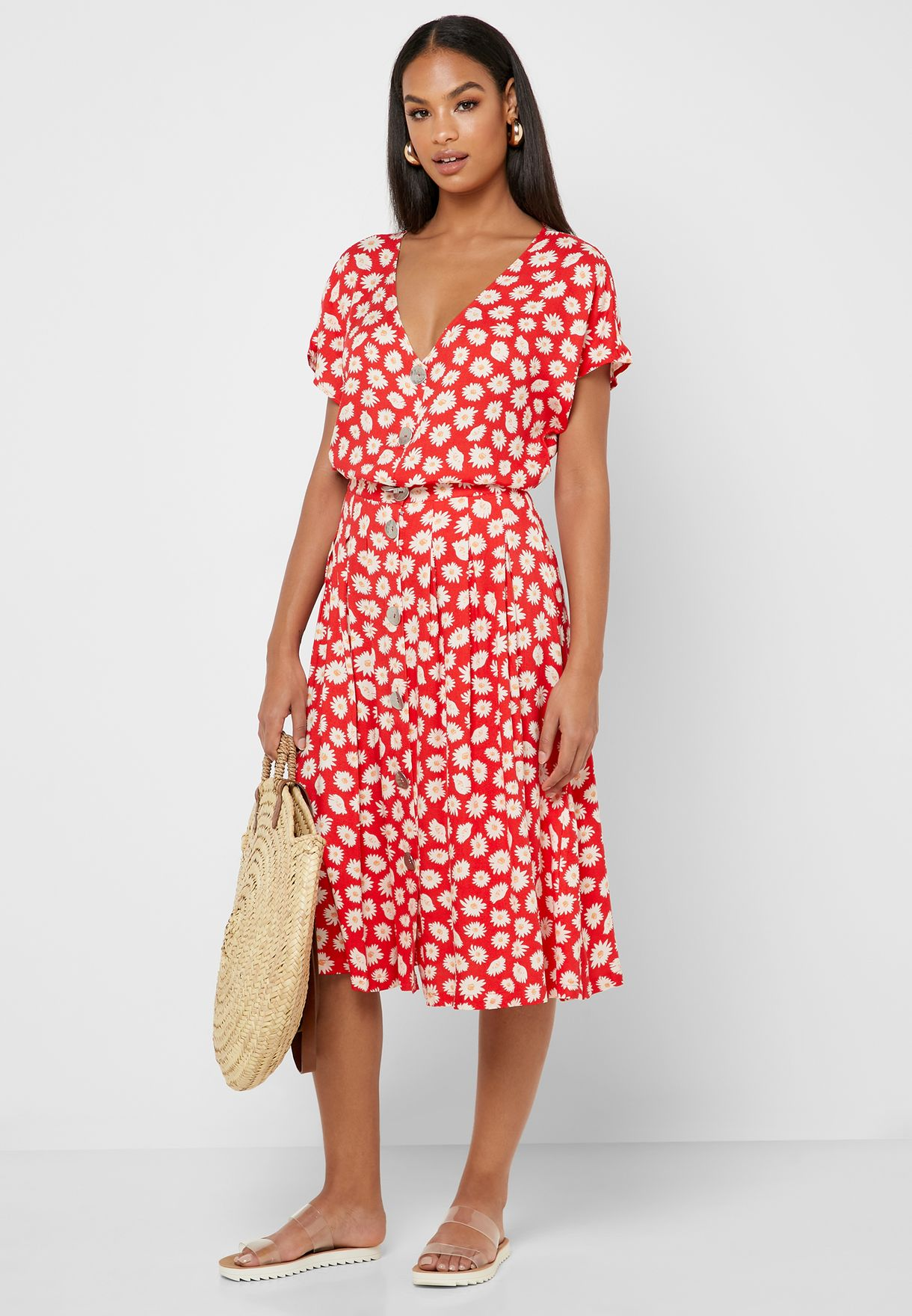Floral Print Button Through Skirt