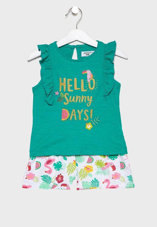 Infant Broderie Trim Top+Printed Shorts Set