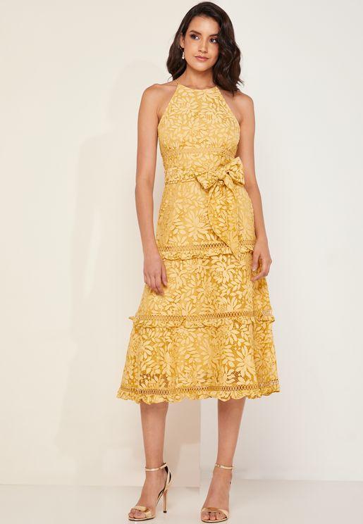Imagine Halter Neck Tiered Lace Midi Dress