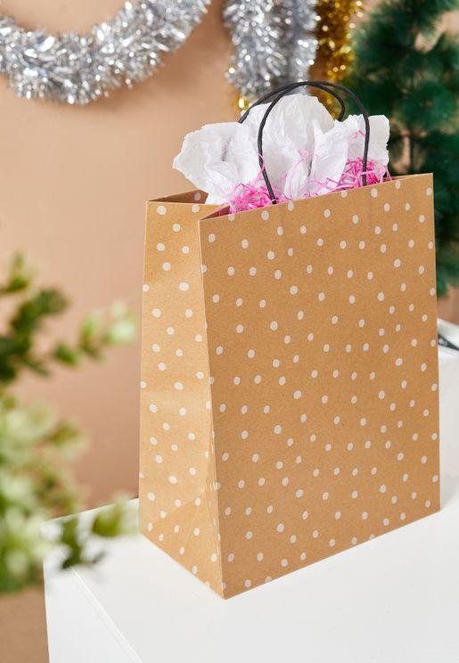 Medium Kraft White Spot Gift Bag