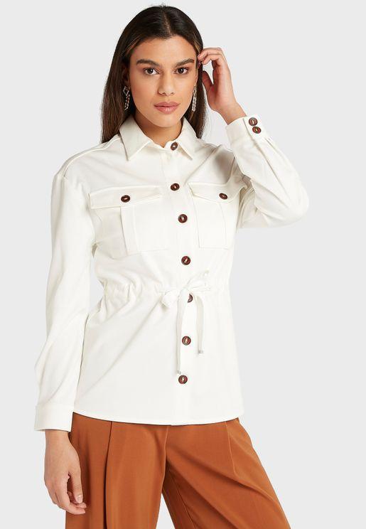 Button Down Waist Tie Shirt